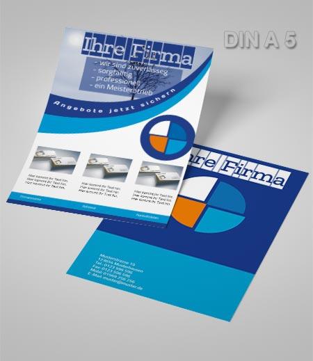 Flyer Vorlage DIN A5 blau kreis
