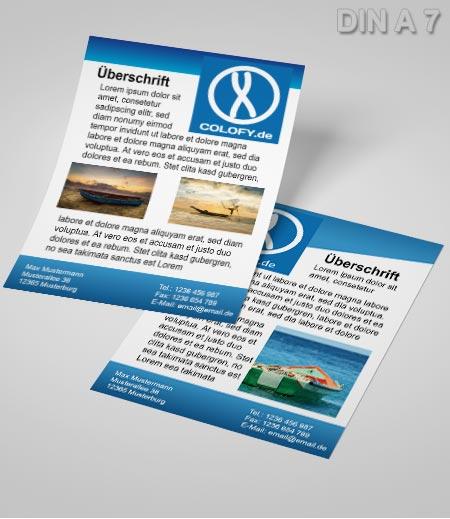 Flyer Vorlage DIN A 7 blau