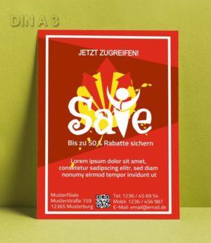 Flyer Vorlage DIN A 3 Rot