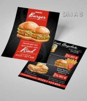 Flyer Vorlage DIN A 5 Burger