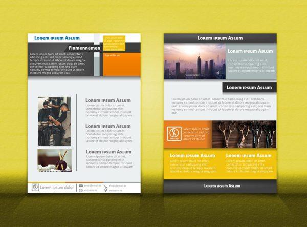 Flyer Vorlage DIN A4   OrangeGrau